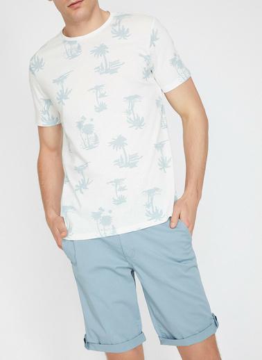 Koton Baskili T-Shirt Ekru